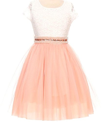 Little Girl Cap Sleeve Lace Top Tulle Stone Belt Flower Girls Dresses (20JK45S) Peach - Peach Belt