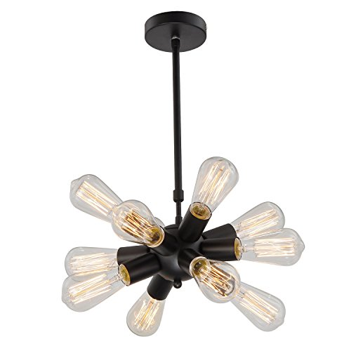 Unitary Brand Black Modern Metal Hanging Ceiling Chandelier With 12 Lights Painted Finish