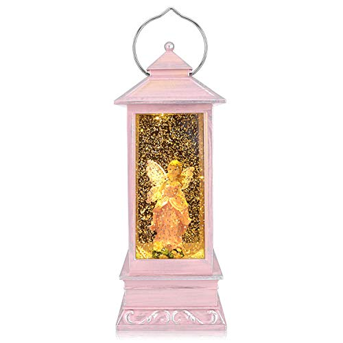 QTKJ USB and Battery Operated Cute Pink Angel with Wing Night Lamp Spinning Water Lantern Snow Globe Lantern for Desk, Room Decoration Gifts (Pink)