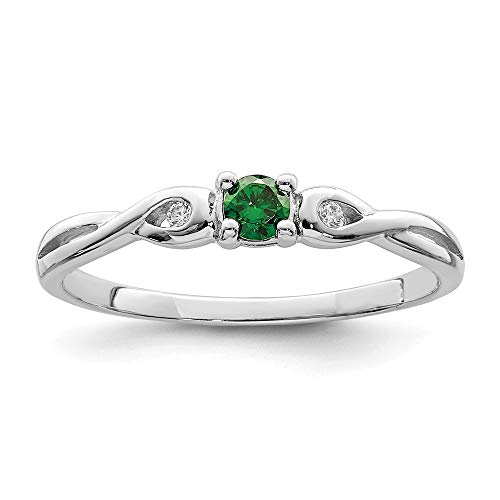 925 Sterling Silver Green White Cubic Zirconia Cz Band Ring Size 8.00 Fine Jewelry Gifts For Women For Her