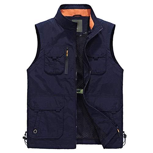 Multi Fashion Mens Comode Abiti Fotografia Con Hx Outdoor Casual Taglie Summer Giacca Pocket Regolato Vest Giacche Antivento Pesca Blu Impermeabile Cerniera FIwEAq