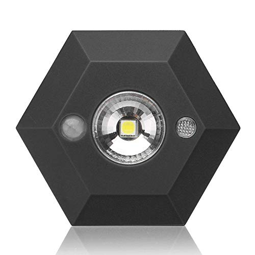 ❤️Jonerytime❤️Wireless Night Light PIR Motion Auto Sensor 6 LED Lamp Lights Battery Operated (Black)