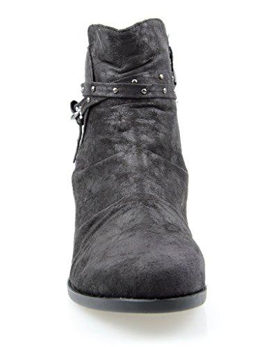 Eyekepper mujeres botas de tobillo con cremallera lateral acanalada superior doble hebilla de correa negro