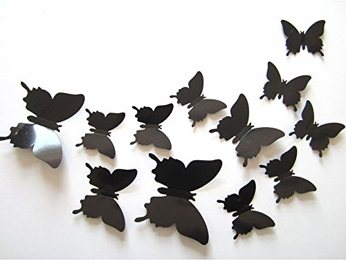 ufengke® 12-Pcs 3D Butterflies Wall Stickers Fashion Design DIY Butterfly Art Decals Crafts Home Decoration, Black