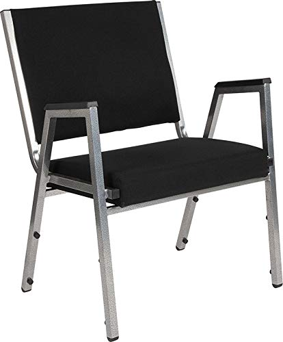 Emma + Oliver 1500 lb. Rated Black Antimicrobial Fabric Bariatric Arm Chair