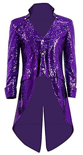 Men's Purple Sequins Tailcoat Jacket Single Breasted Gothic Blazer Tuxedo Coat Halloween Costume Purple 42/36