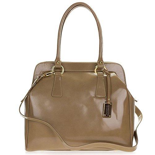 Giordano Italian Made Beige Glazed Leather Large Satchel Bag