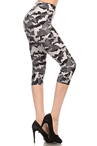 R504-CA-OS Bats Capri Print - Leggings Womens Halloween
