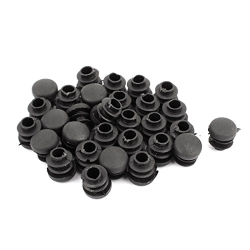 uxcell 14mm Diameter Plastic Round Ribbed Tube Inserts End Blanking Caps Black 30pcs