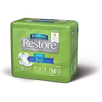 FitRight Restore Adult Briefs with Tabs, Maximum Absorbency, Medium, 32
