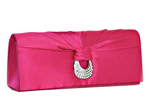 Clutch / Abendtasche mit Kette in Rosa / Pink Satin