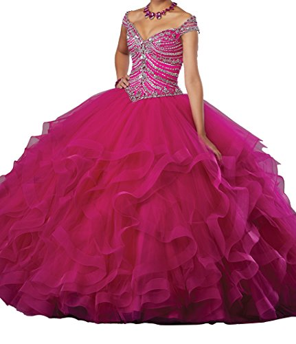 Quinceanera Gown New (Dengfeng Women's Beaded Ruffled Lady Prom Gowns Sweet 15 Quinceanera Dresses 8 US Fuchsia)