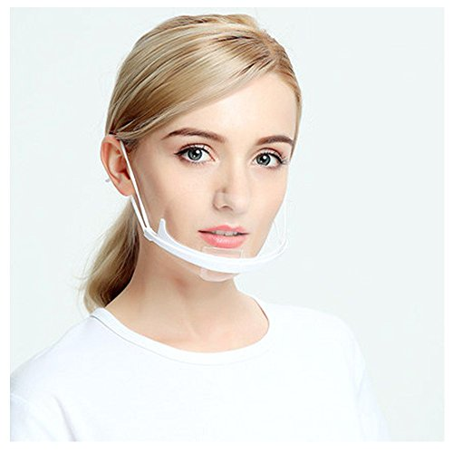 Teanfa 10Pcs Transparent Sanitary Mask,Permanent Anti-fog Catering Food Hotel Plastic Kitchen Food Processing Cooking Restaurant Smile Mouth Mask from Teanfa