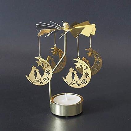 Triamisu Chat Forme Romantique Rotation Chandelier Porte tournante Moulin /à Vent bougeoirs Table de Bricolage d/écor de Bureau de Vacances de No/ël Cadeau-Chat dor sur la Lune