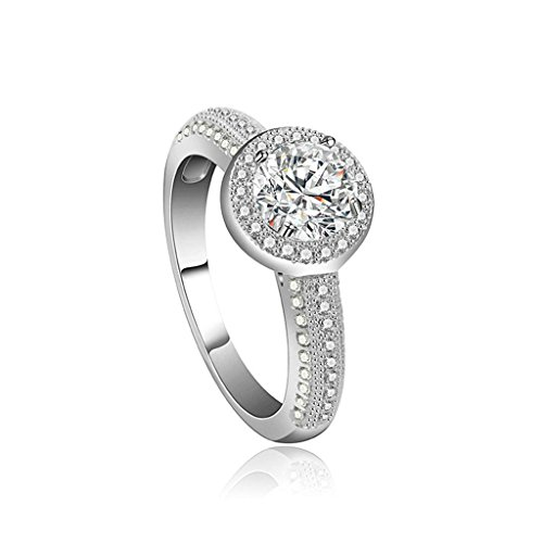 Beydodo White Gold Plating Promise Ring For Women 4-Prong Round CZ Princess Ring For Wedding Size 7