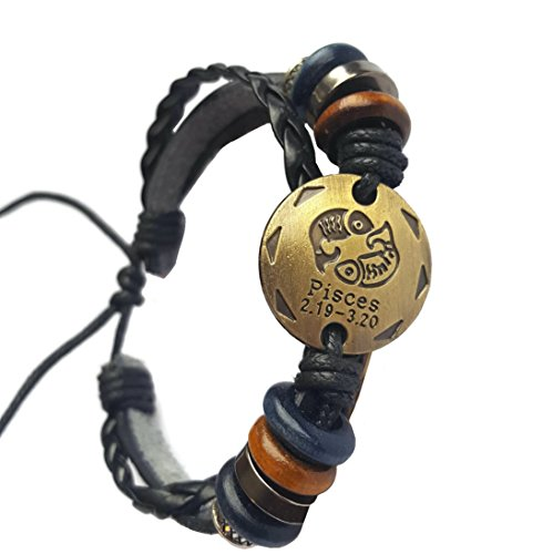 Zodiac Adjustable 3 strand Leather Bracelet with Metal Zodiac Sign Logo Charm Unisex Brass Tone Coin (Pisces)