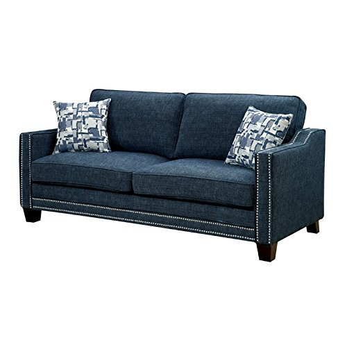 Furniture of America Landrum Fabric Sofa in Blue