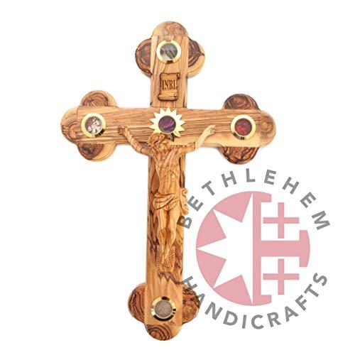 Bannouras Olive Wood - Bethlehem Handicrafts Budded Olive Wood INRI Crucifix with 5 Holy Essences