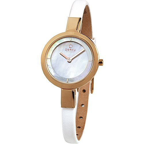 Obaku Women's Quartz Stainless Steel and Leather Dress Watch, Color:White (Model: V129LXVWRW)