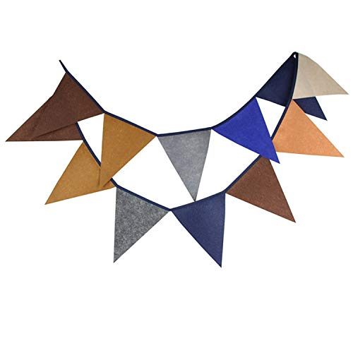 12 Flags 2.8m Coffee Blue Nonwoven Fabric Fabric Bunting Pennant Flags Banner Garland Baby Shower/Outdoor DIY Home Decoration ()