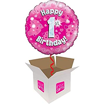 InterBalloon Helium Inflated Happy 1st Birthday Pink Holographic Balloon Delivered In A Box Amazoncouk Toys Games