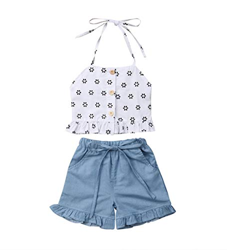 Toddler Kids Baby Girl Floral Halter Ruffled Outfits Clothes Tops+Shorts 2PCS Set (1-2 Years, -