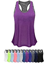 6ff546dc9b1 Women Tank Top with Built in Bra, Lightweight Yoga Camisole for Workout Gym  Fitness