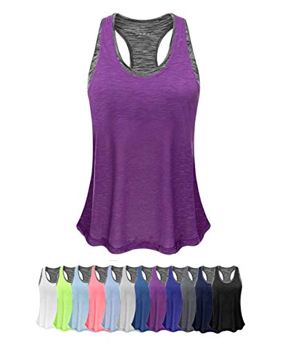 (Women Tank Top with Built in Bra, Lightweight Yoga Camisole for Workout Gym Fitness(Purple&Gray Bra, XXL))