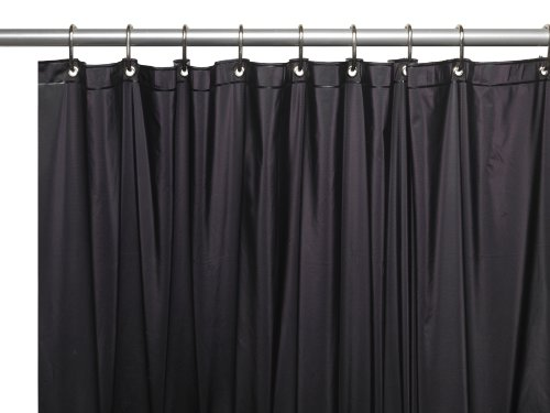 Carnation Home Fashions 72 by 84-Inch Waterproof Vinyl Shower Curtain Liner, X-Large, Black Black Carnation