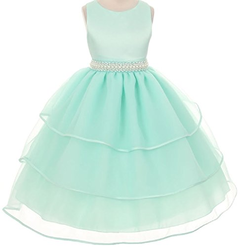 Mint Tie Waist Dress - Little Girls Sparkle Pearl Beading Waistline Flowers Girls Dresses Mint 6 (C03B34)