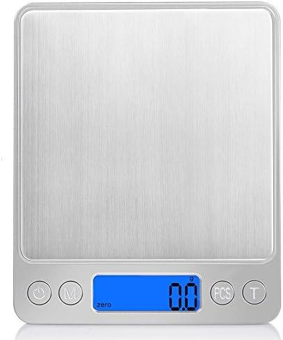 [スポンサー プロダクト]iitrust デジタルスケール 電子はかり デジタル はかり キッチン 高精度 計り 風袋引き機能 日英取扱説明書 シルバー C03140-C-SLV