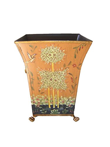 Cheap 12″ Hand Painted Wastebasket Bin Container/Orchid Planter- Green Flower Design-4377