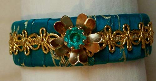 Jeweled Flower and Picot Edge Lace Gypsy Bangle Bracelet Wrapped with Turquoise Brocade