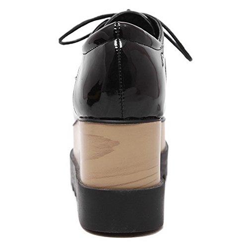 AllhqFashion Mujer Cordones Tacón Alto Charol Sólido Puntera Cerrada Puntera Cuadrada De salón Negro