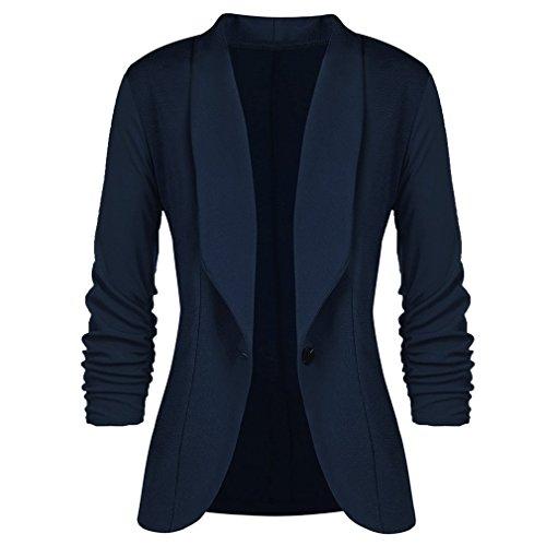 Navy Seven Blue Suit OL Button Ladies Fashion Work Quarter Women Slim Blazers Casual Sleeve Jacket Blazer Juleya One Coat 8ATwqqH