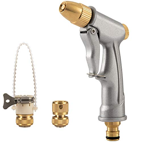 ANPHSIN Garden Hose Nozzle Spray Gun Full Brass Nozzle Gun Zinc Alloy Pistol Body with 3/4 inch Brass Connector and Universal Faucet Adaptor for Garden Cleaning, Car Washing