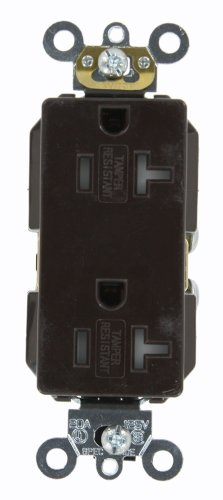 Leviton TDR20 20 Amp, 125 Volt, Tamper Resistant, Decora Plus Duplex Receptacle, Straight Blade, Commercial Grade, Self Grounding, Brown