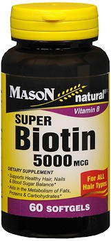 Mason Natural Super Biotin 5000 mcg - 60 Softgels, Pack of 6 by Mason Natural