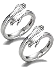 Komm zu meine Arm Umarmung 925 Sterling Zilver Open Ring, 925 Sterling Zilver Omarming Hands Verstelbare Ring voor Vrouwen 2 Stuks