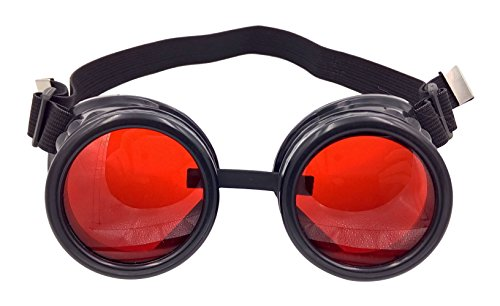 Minidot Steampunk Antique Safety Goggles (Black - Lens Red Goggles