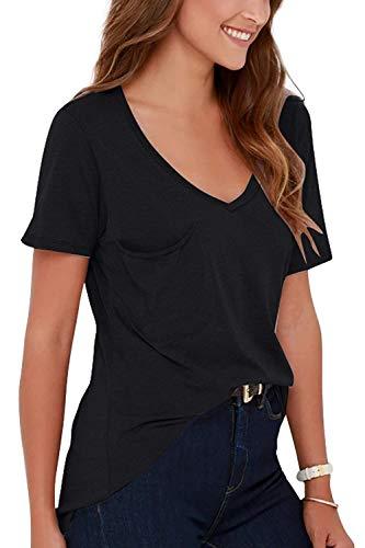 Corta Donne Camicie Lunga Elegante Casual Con A V Manica Casuale Da Camicia Unita Schwarz Tinta Taglio Donna Estiva Camicette g0nPWqFFp