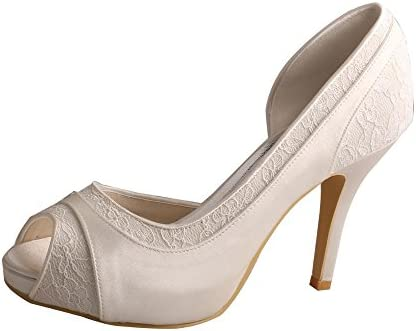 Wedopus Mw702 Women High Heel Satin And Lace Pumps Open Toe Bridal