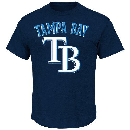 Devil Rays Mlb T-shirt (MLB Tampa Bay Rays Men's Rays Logo with City Tee, Large, Navy Heather)