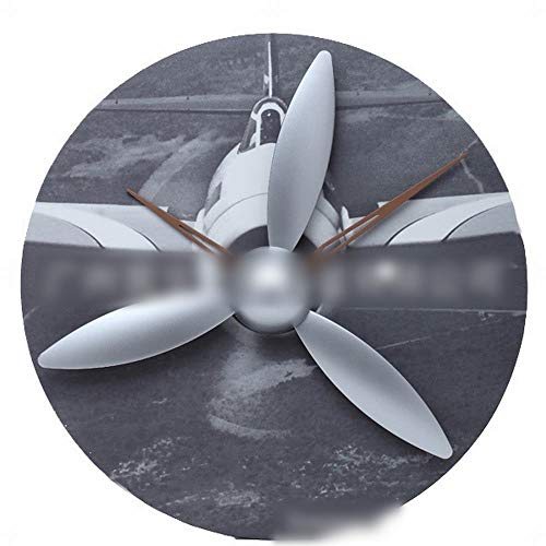 Vfdsvbdv Aircraft Model Gear Clock, Wood Wall Clock Propeller Wing Wing Clock Personality Creative Gifts (Color : 1) ()