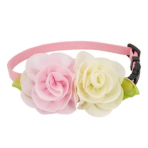 Flowers Dog Collar Collars - Puppy Soft Suede Flower Collars for Small Dogs Adjustable (S)