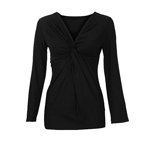 Chemise Kingwo Femme Noir pour Tee Shirt col Unie Froisse Couleur Manches Longues V HqxU0qd