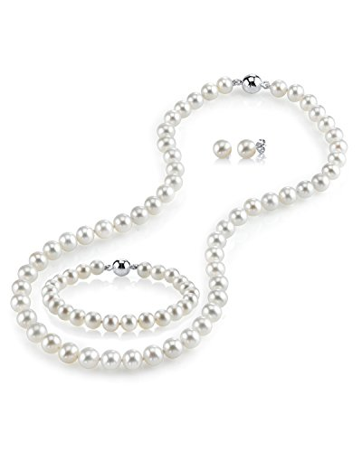 THE PEARL SOURCE Sterling Silver 7-7.5mm Round White Freshwater Cultured Pearl Necklace, Bracelet & Earrings Set with Magnetic Clasp in 18