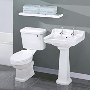 Lovely Traditional Bathroom Cloakroom Basin Sink And Toilet WC With Cistern And  Seat