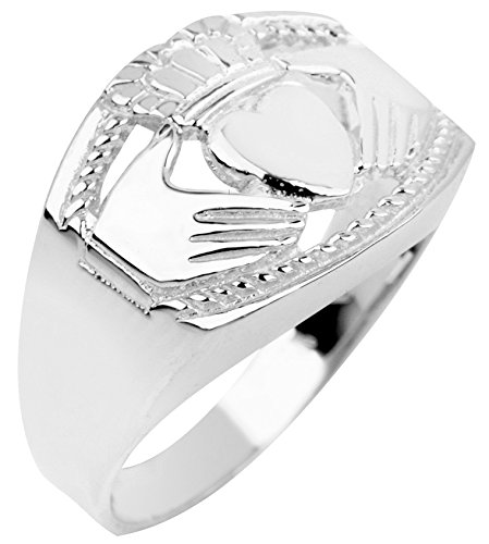 Men's Bold 14k White Gold High Polish Band Irish Claddagh Ring (Size 11.5)