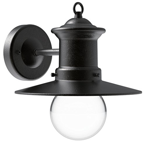 CORAMDEO Outdoor Wall Lantern, Wall Sconce as Porch Light Fixture with One E26 Base, Outdoor Rated, Black Finish, Aluminum Housing Plus Glass For Sale